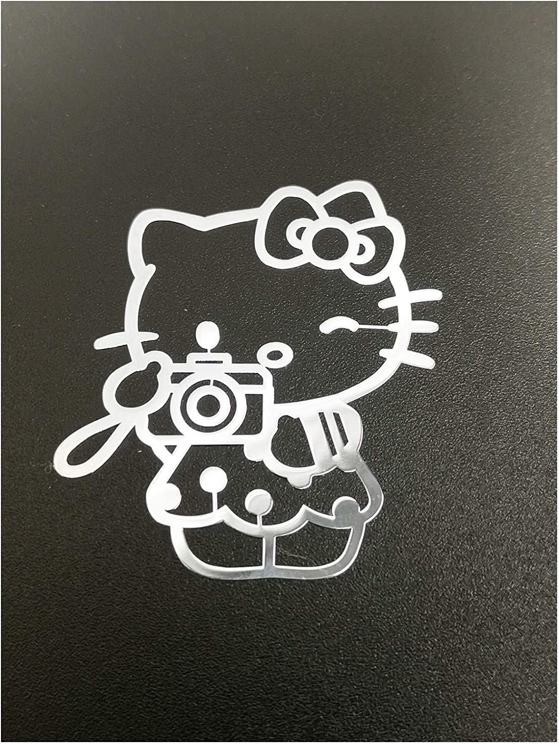Wallner 2 pcs Metal Adhesive Hello Kitty Badge Chrome Decal Logo Vinyl Sticker Cellphone Decal Stickers for Laptop Cellphone car IPAD or Others (Silver, A2)