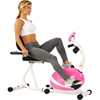 Sunny Health & Fitness Bicicleta de Ejercicios Bicicleta Reclinada Magnética, Capacidad de 100 kgs, Monitor, Monitor de Pulso Cardiaco - P8400