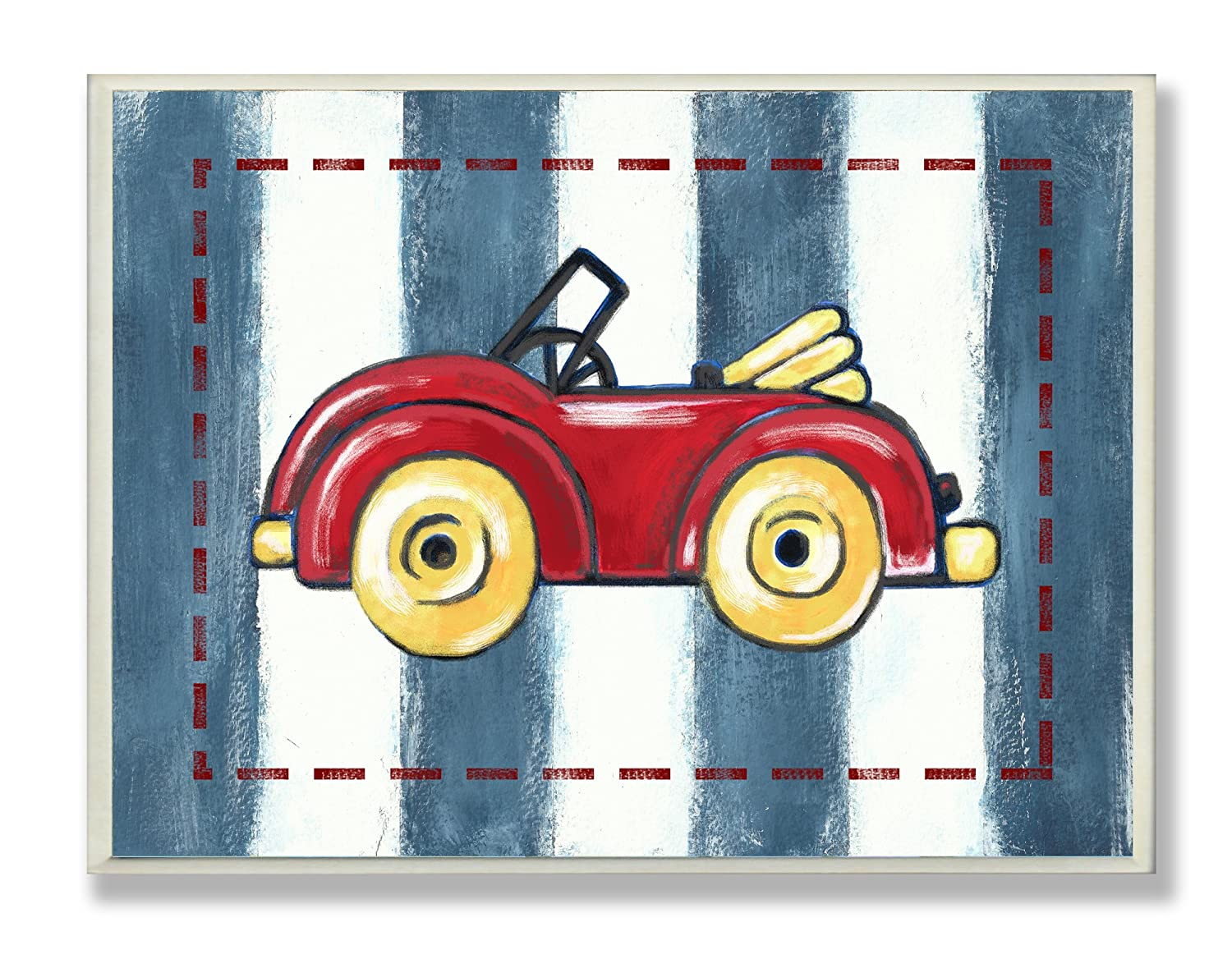 The Kids Room by Stupell Red Convertible on Blue Stripes Rectangle Wall Plaque brp-1466