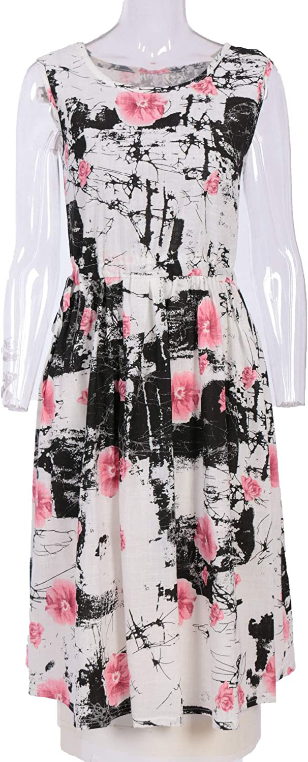 Fast-Selling Print Cotton and Linen Large Dress