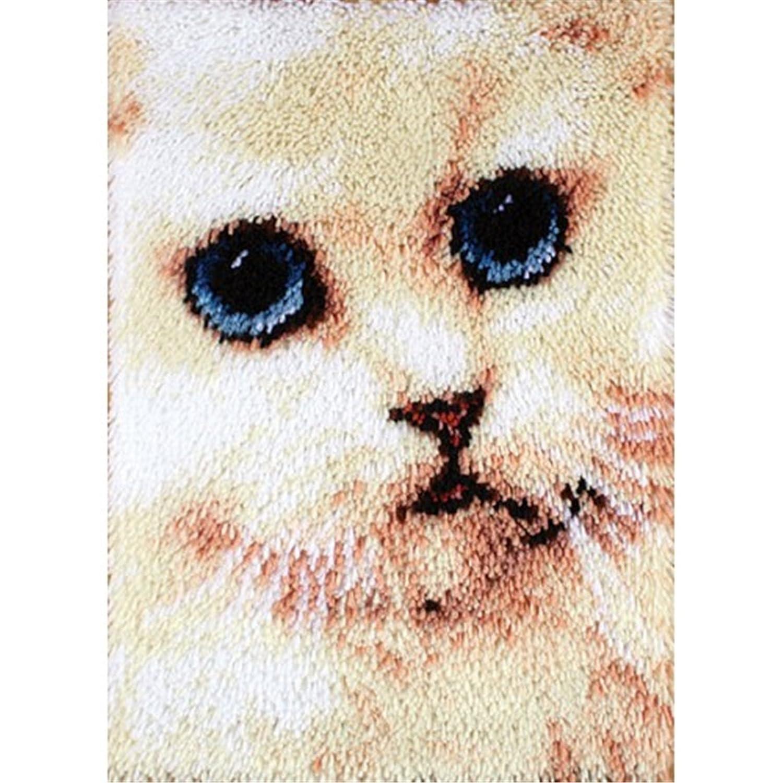 4 Modell Katze Knü pfteppich fü r Kinder und Erwachsene zum Selber Knü pfen Teppich Latch Hook Kit child Rug Cat117 53 by 38 cm Beyond Your Thoughts