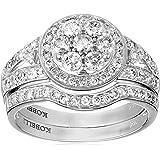 Kobelli 1 cttw Round Brilliant Cut Diamond 14k Gold Wedding Ring Set, Size 7