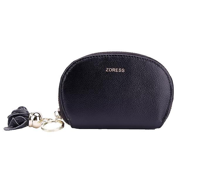 zoress womens rfid blocking credit card case genuine leather flower zip card holder walletblack - Zip Card Holder