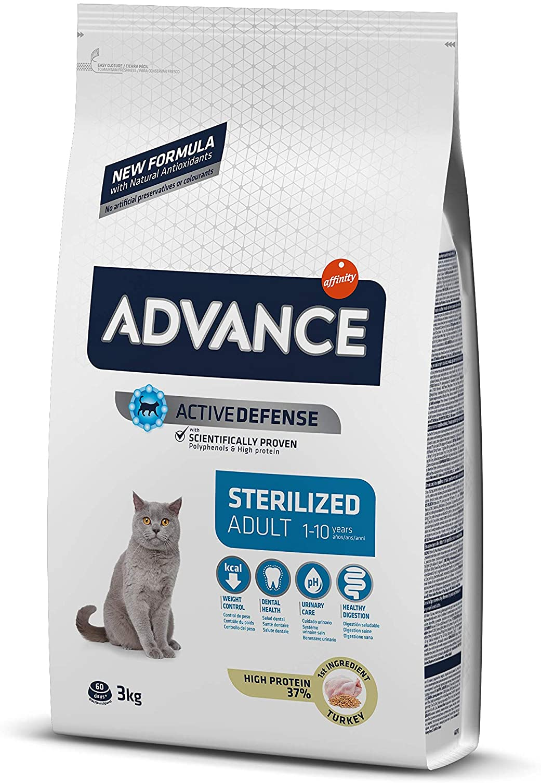 Advance Adult Sterilized - Pienso para Gatos Adultos esterilizados con Pavo y Cebada - 3 kg