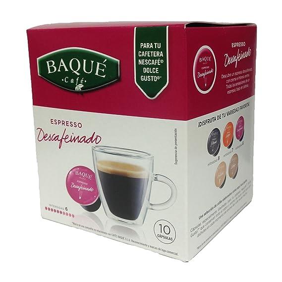 Cafés Baqué Cápsulas Compatibles Dolce Gusto Descafeinado - 70 gr - [Pack de 4]