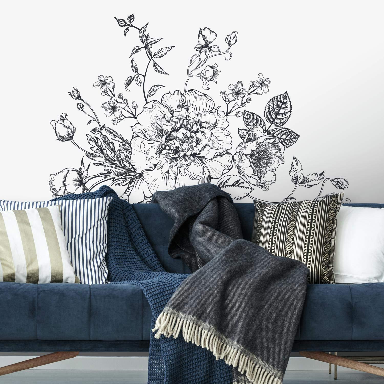 Vinilo Decorativo Pared [00qj78tg] Flores Peonias Gigantes