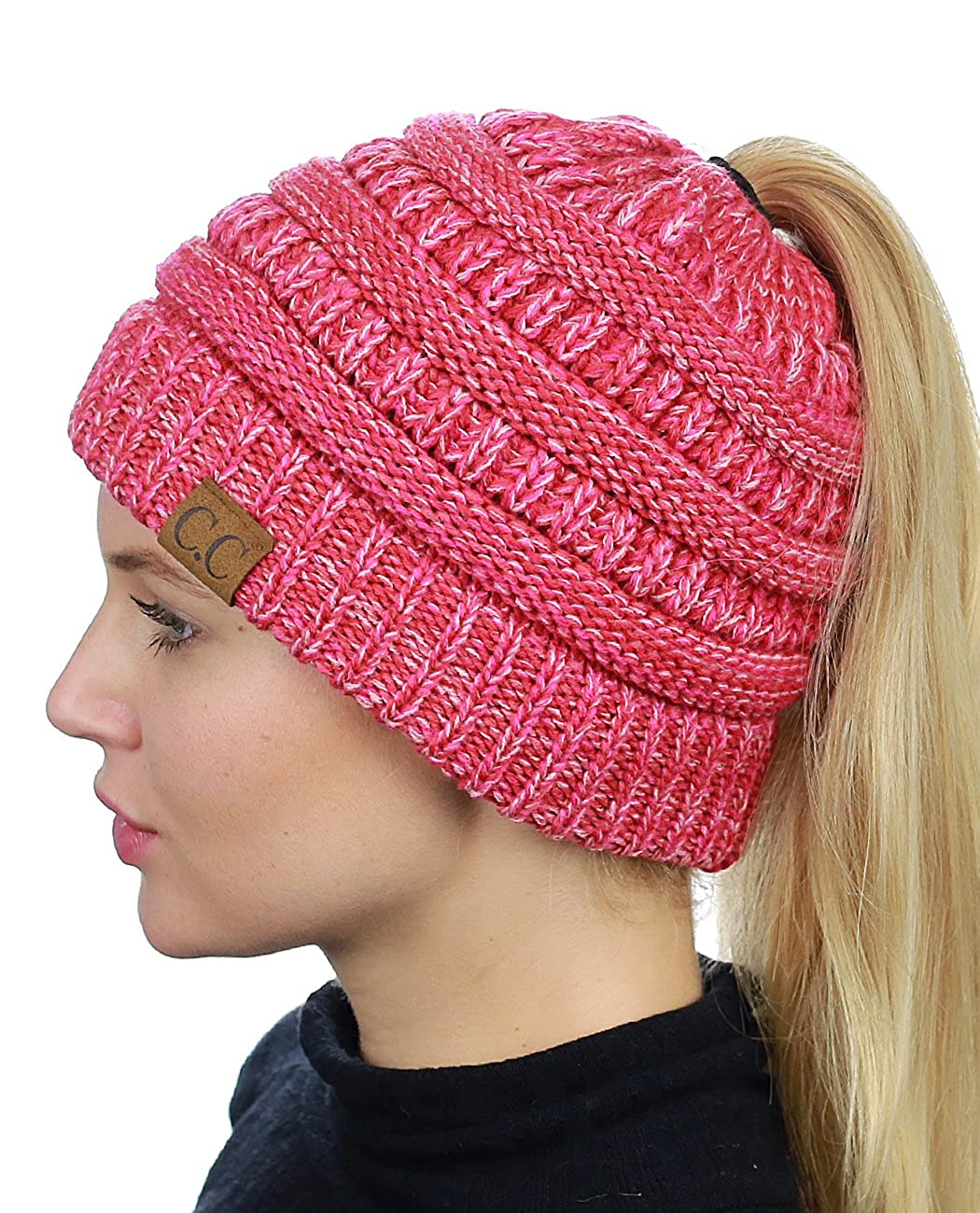 5876961fea1 C.C BeanieTail Soft Stretch Cable Knit Messy High Bun Ponytail Beanie Hat