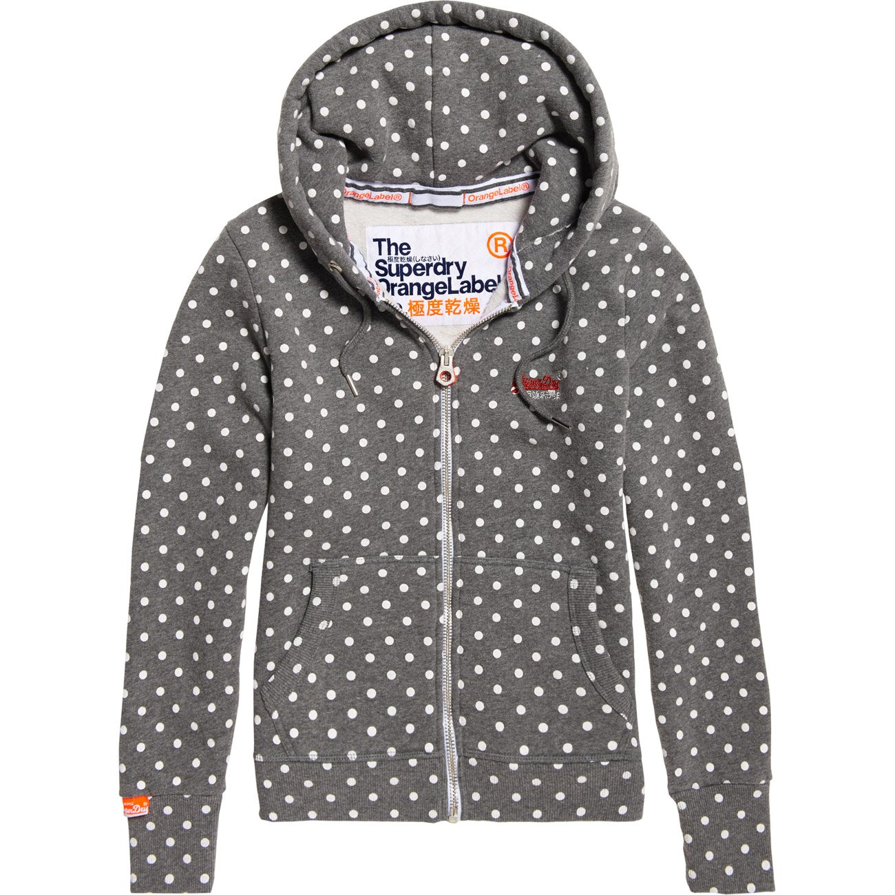 Superdry Damen Sweatjacke mit Kapuze Orange Label AOP