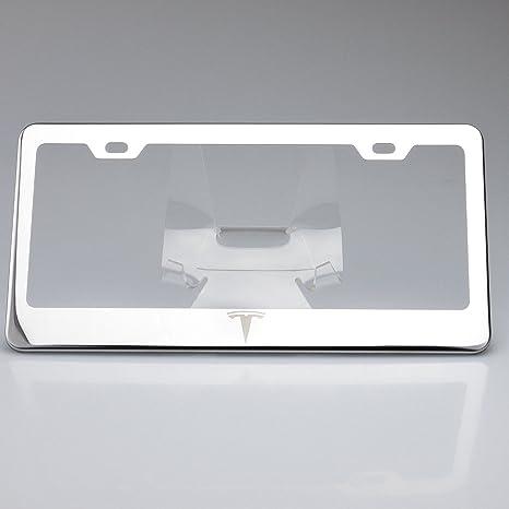 Amazon.com: One Polish Tesla Logo Mirror Stainless Steel License ...