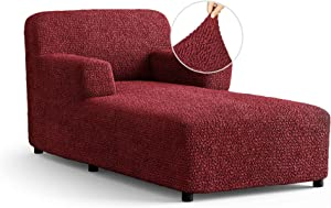 Chaise Lounge Cover Lounge Chair Sofa Slipcover- Soft Polyester Fabric Slipcovers - 1-Piece Form Fit Stretch Furniture Slipcover - Microfibra Collection - Bordeaux (Chaise Lounge)