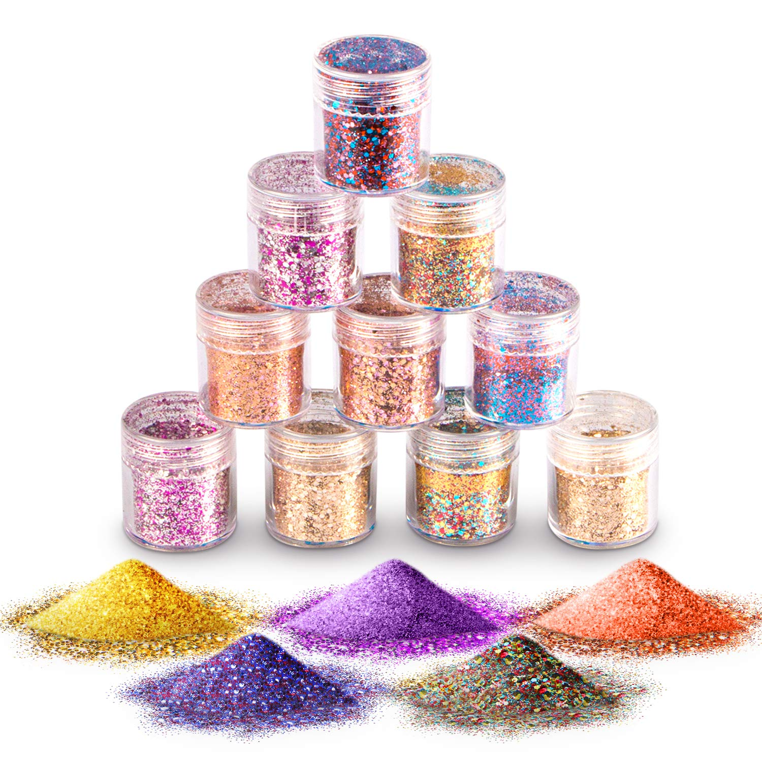 Face Glitter Chunky Glitter, Hexagons Cosmetic Glitter Paillette Sparkling Decoration Glitter for Body, Cheeks and Hair -(10 Pack)