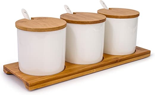 Amazon Com June Sky Ceramic Food Storage Containers With Bamboo