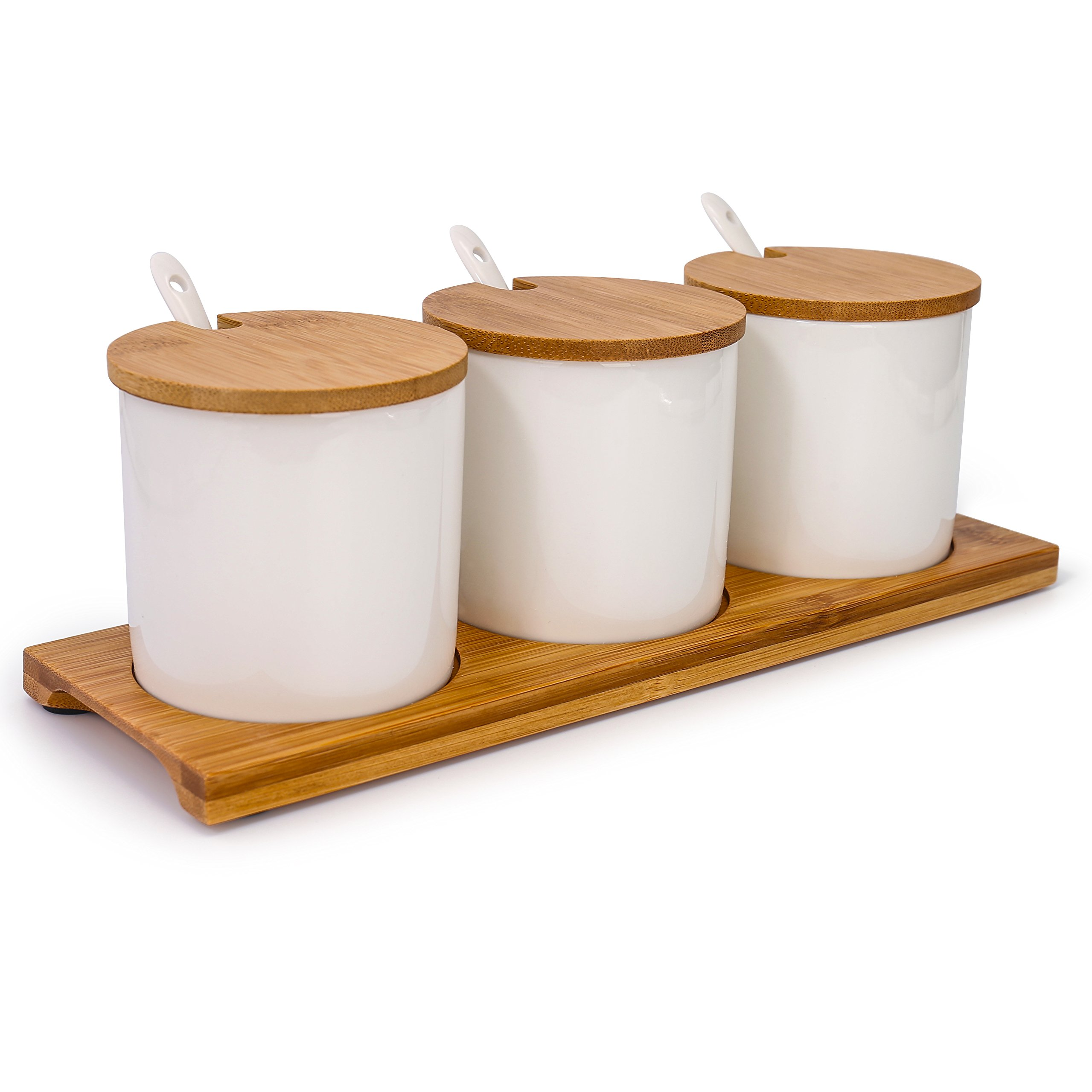 June Sky Ceramic Food Storage Containers with Bamboo Lid- Modern Design Porcelain Jar- Perfect Canister for Sugar Bowl Serving Tea, Coffee, Spice- Condiment Pot 8 oz, white(Sugar Container Set of 3)