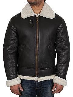Brandslock Mens Aviator Cream Real Shearling Sheepskin Leather Bomber Flying Jacket