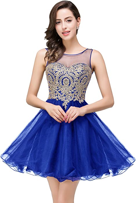 11cc2ae97f Amazon.com  MisShow Juniors Lace Top Short Quinceanera Prom Dresses ...