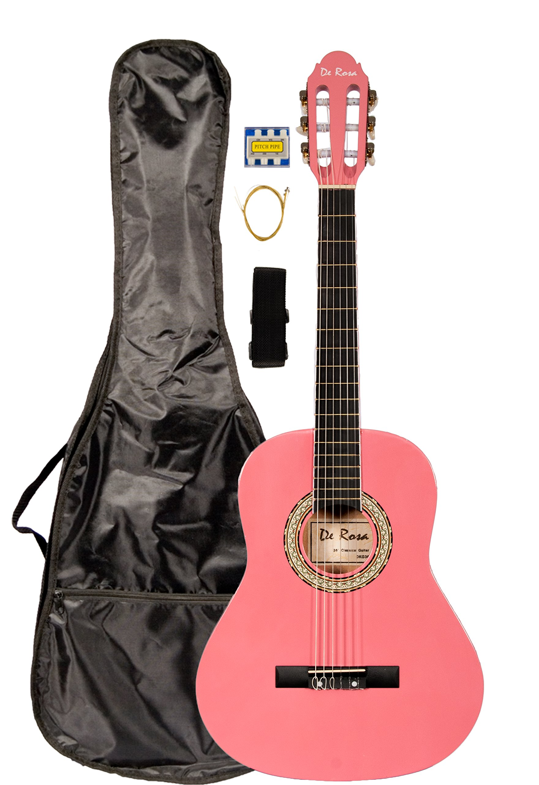 36 INCH DeRosa DKF36 Kid's PINK 3/4 Classical Nylon String Guitar great for beginners