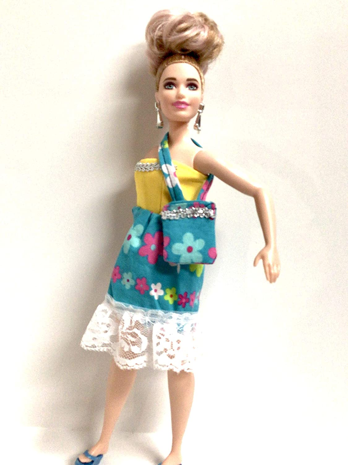 Strapless sundress made to fit 11.5 inch Curvy Dolls Yellow and blue floral doll sundress