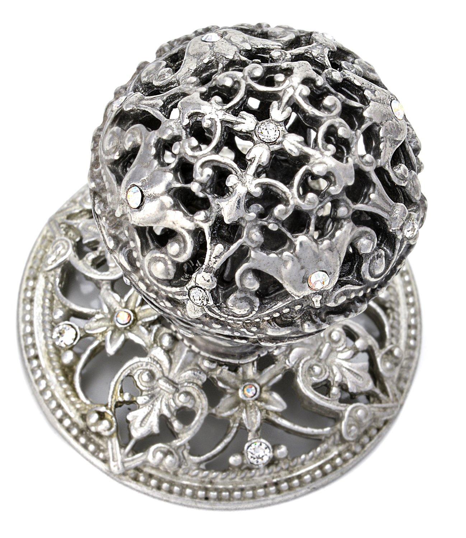 Platinum Carpe Diem Hardware 143-24CAB Juliane Grace  with Large Knob Full Round Made with Swarvski Crystals