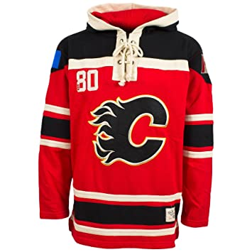 save off eea37 bc7c4 Old Time Hockey Calgary Flames Lace Up Jersey Hoodie NHL ...