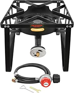 Concord Deluxe Banjo Single Propane Burner; 200,000 BTU Portable Outdoor Stove for Camping Cooking, Home Brewing, Making Sauces; 16