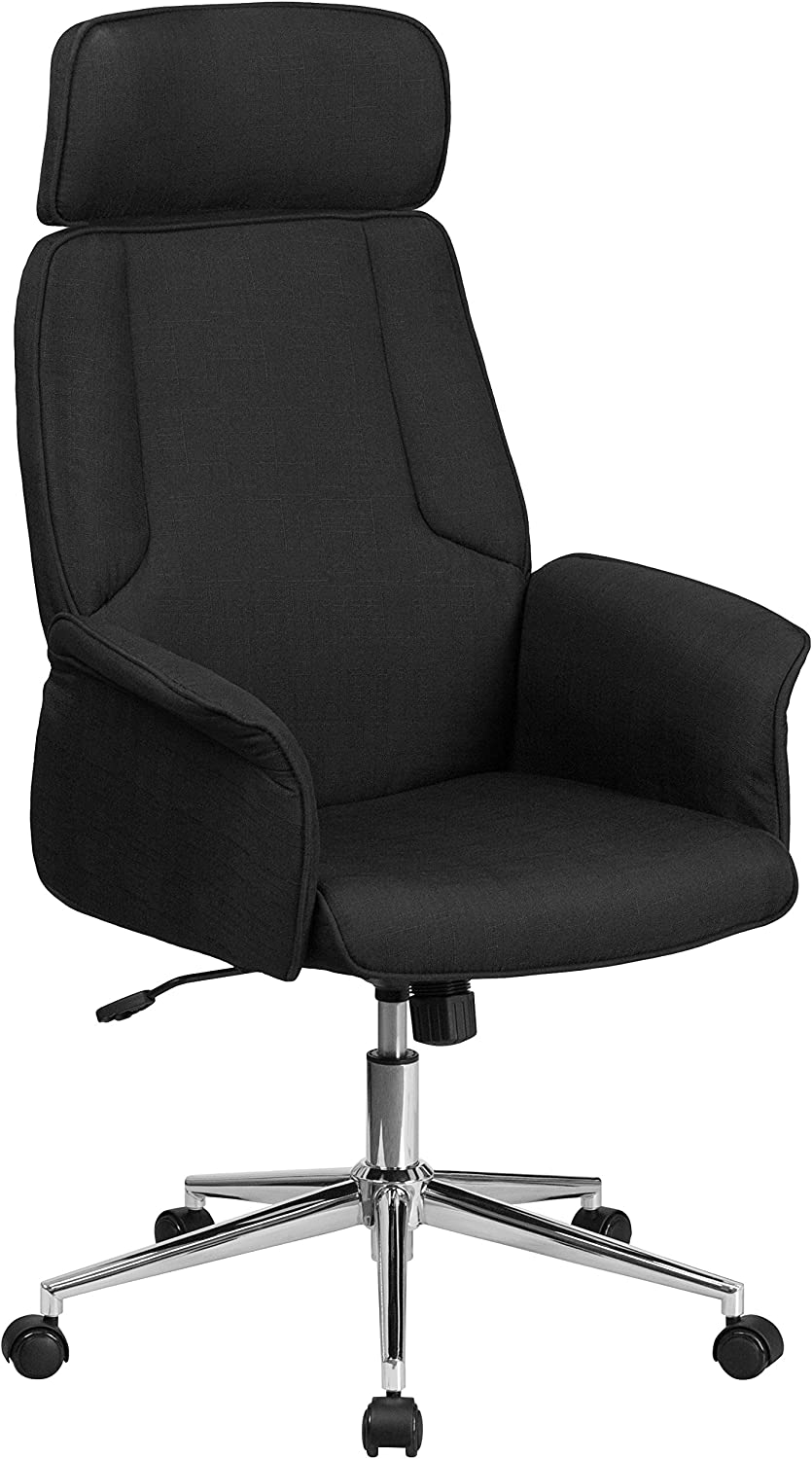 Flash Furniture High Back Black Fabric Executive Swivel Office Chair with Chrome Base and Fully Upholstered Arms