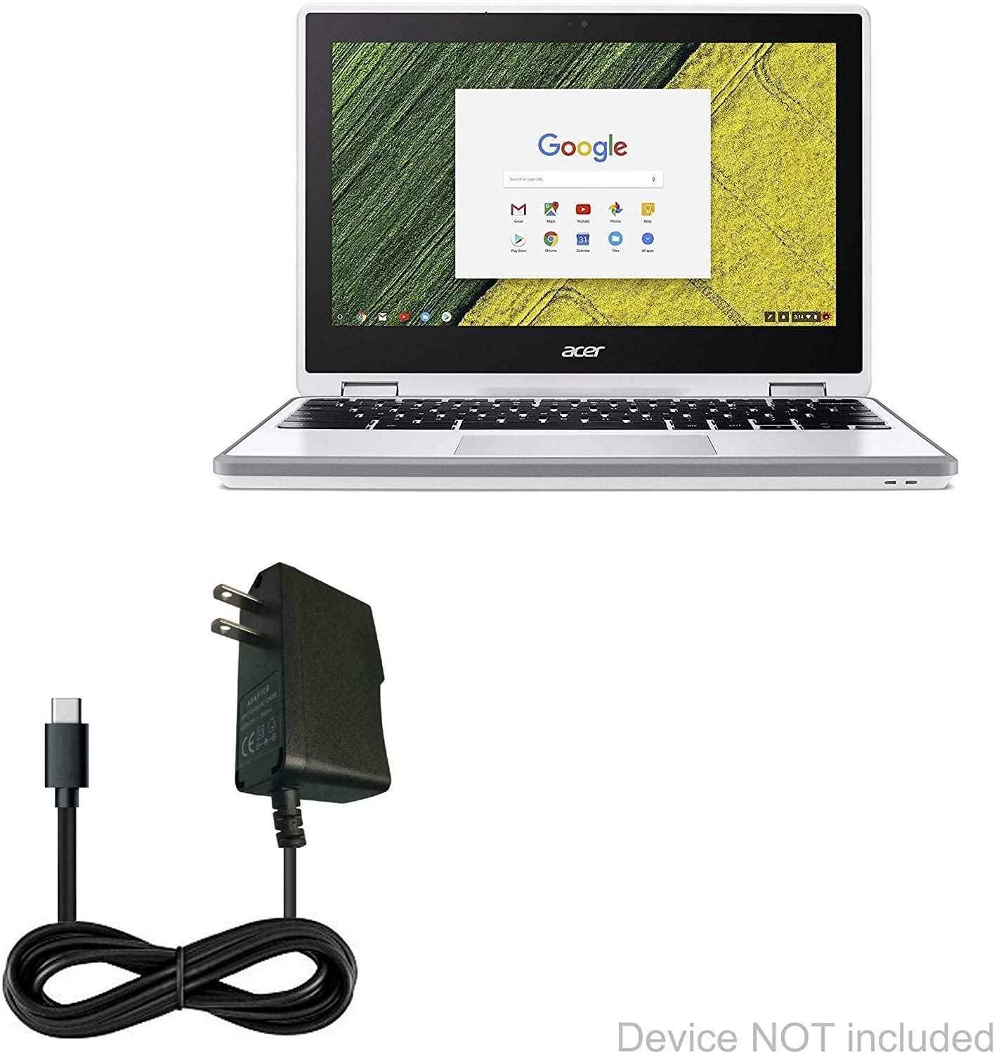 Acer Chromebook Spin 11 (CP511) Charger, BoxWave [Wall Charger Direct] Wall Plug Charger for Acer Chromebook Spin 11 (CP511)