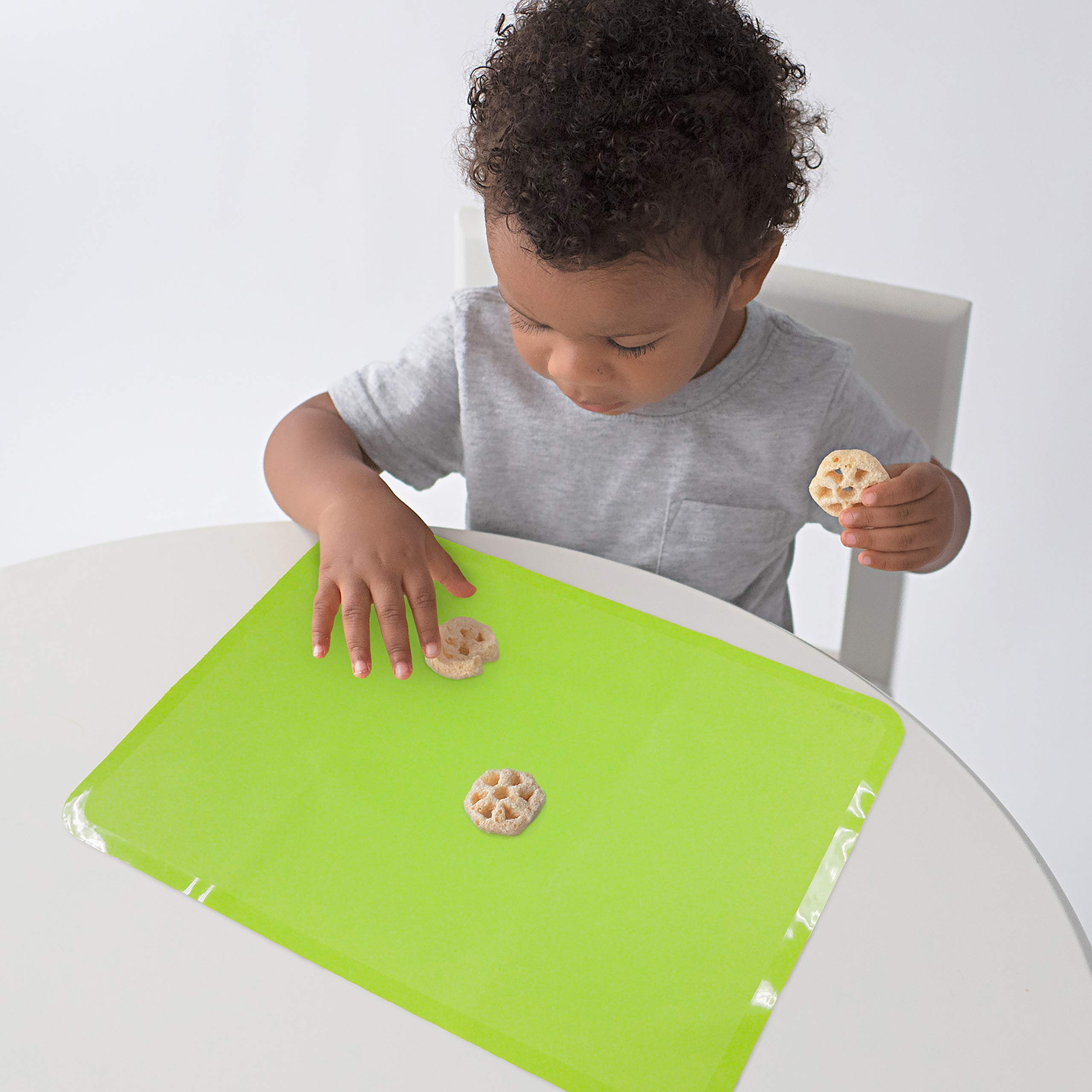 Neat Solutions Reusable Non-Slip Sili-Stick Table Topper, Food Grade Silicone Placemat - BPA Free - Dishwasher Safe - 15 x 11 inches - 6 Count (Green,Blue,Red) by Neat Solutions