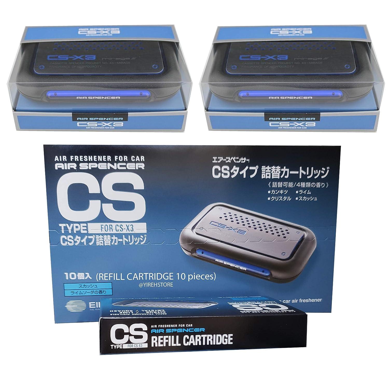 JDM CSX3 Squash Scent 2 Units and 10 Refill Cartridges (1Box) CS-X3 Bundle Car Air Freshener