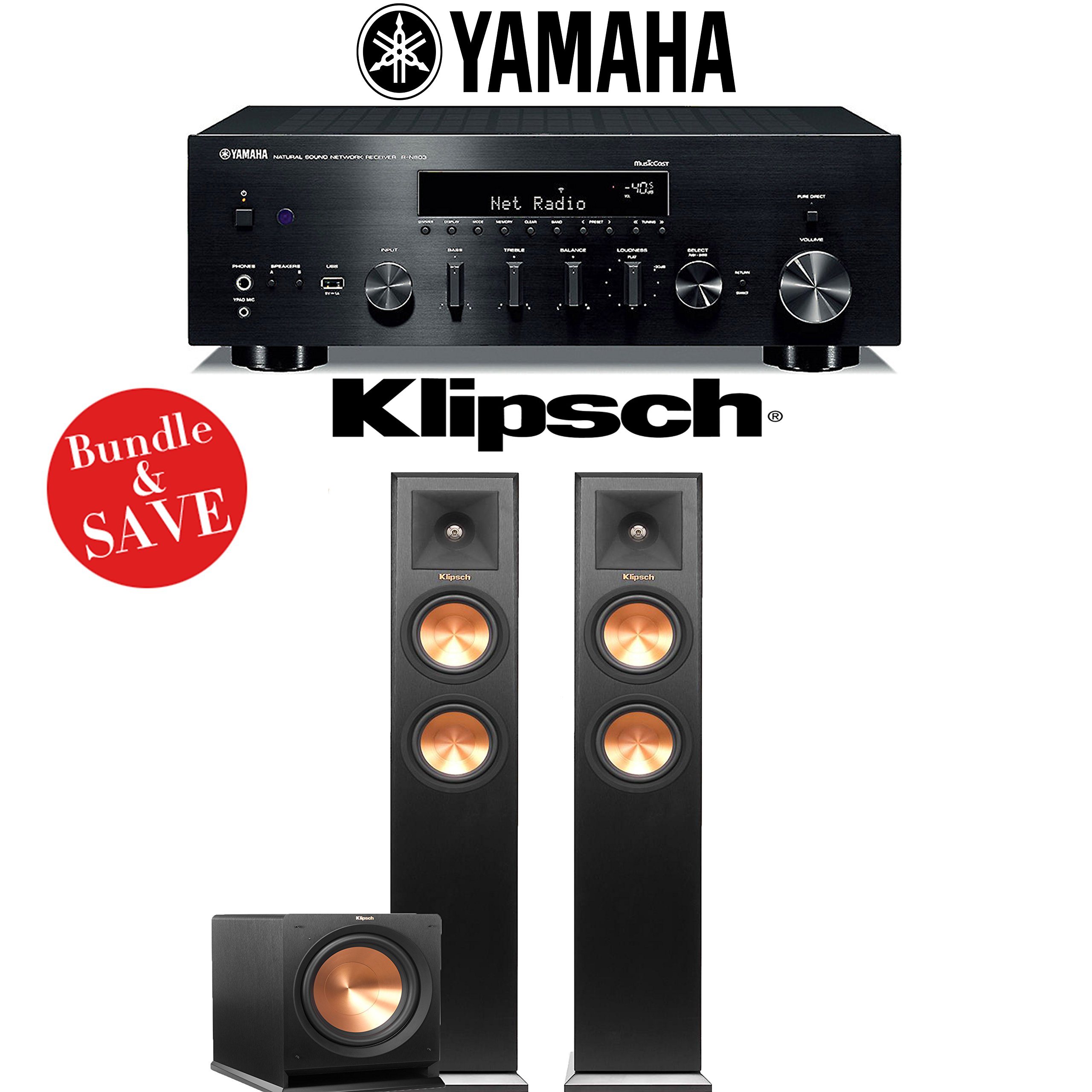Yamaha R-N803BL Network Stereo A/V Receiver + Klipsch RP-250F + Klipsch R-112SW - 2.1-Ch Home Theater Package by Yamaha
