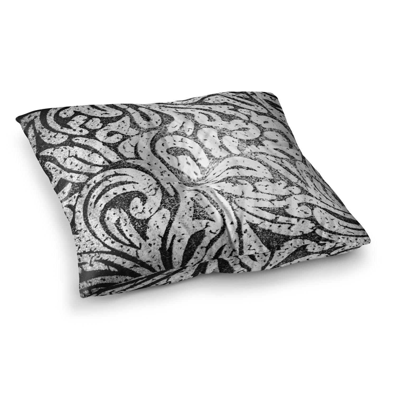 23 x 23 Square Floor Pillow Kess InHouse Alveron Monochrome Paisley