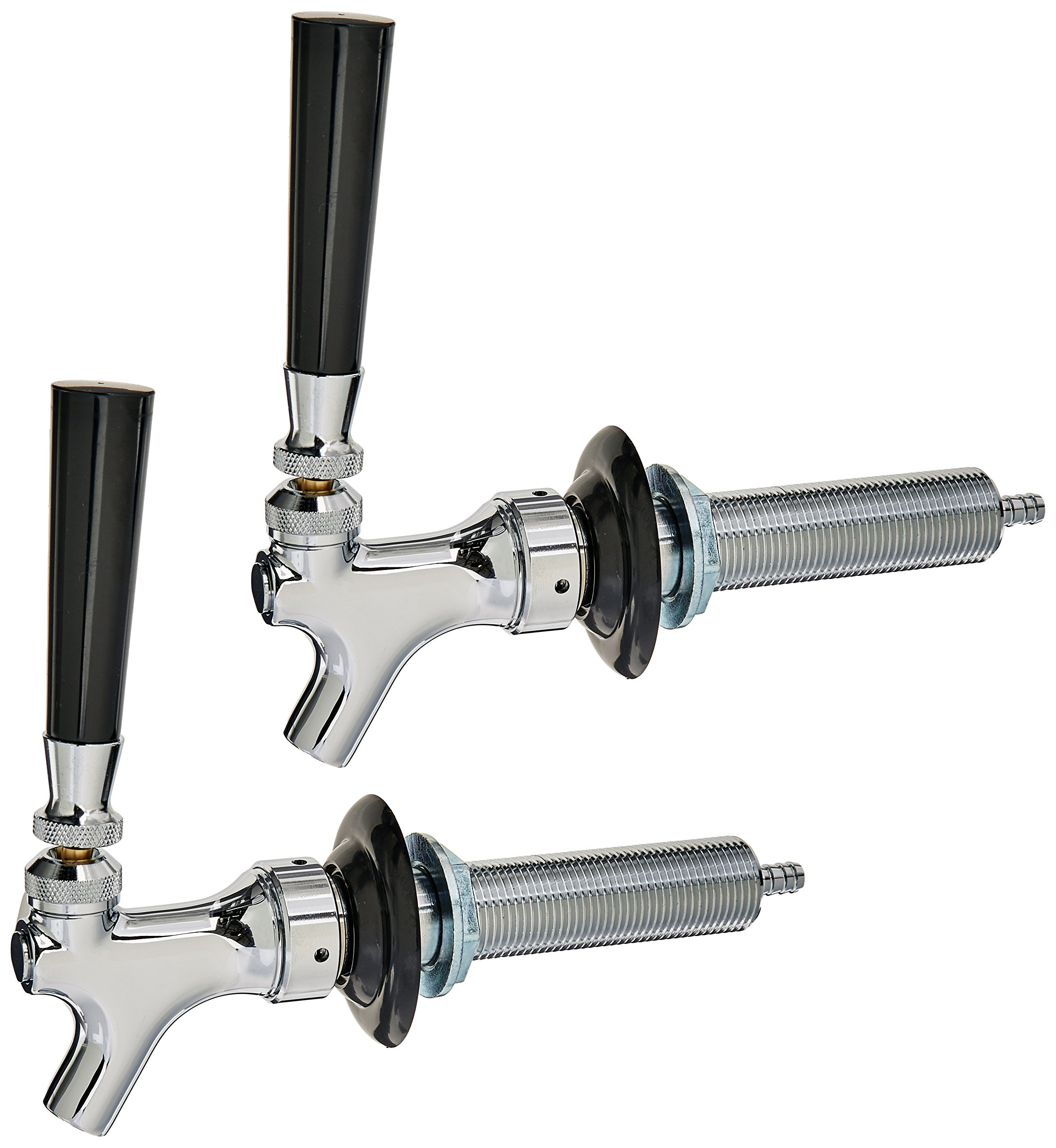 Bev Rite Beer Faucet and 4-Inch Shank Kit with Black Handle (2 Pack)