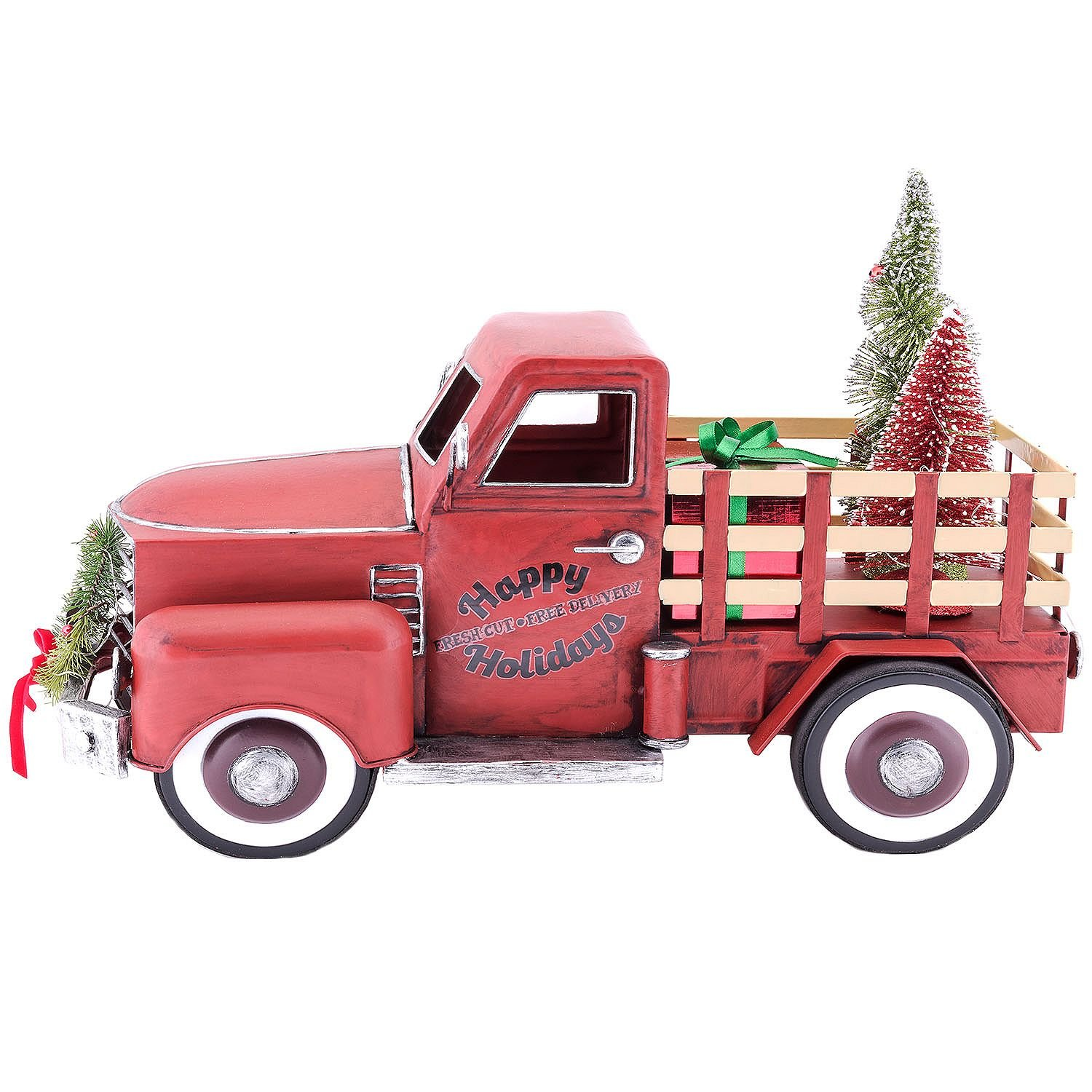 Vintage Red Truck Christmas Decor.Pre Lit Led Happy Holiday S Christmas Tree Vintage Metal Truck Decor