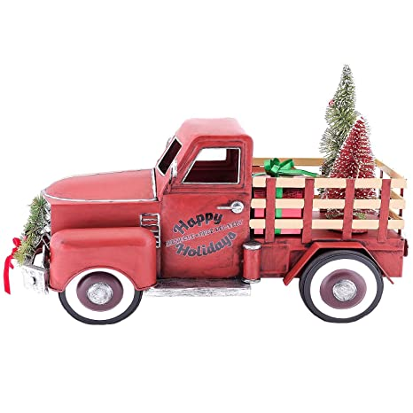 Red Christmas Truck.Pre Lit Led Happy Holiday S Christmas Tree Vintage Metal Truck Decor
