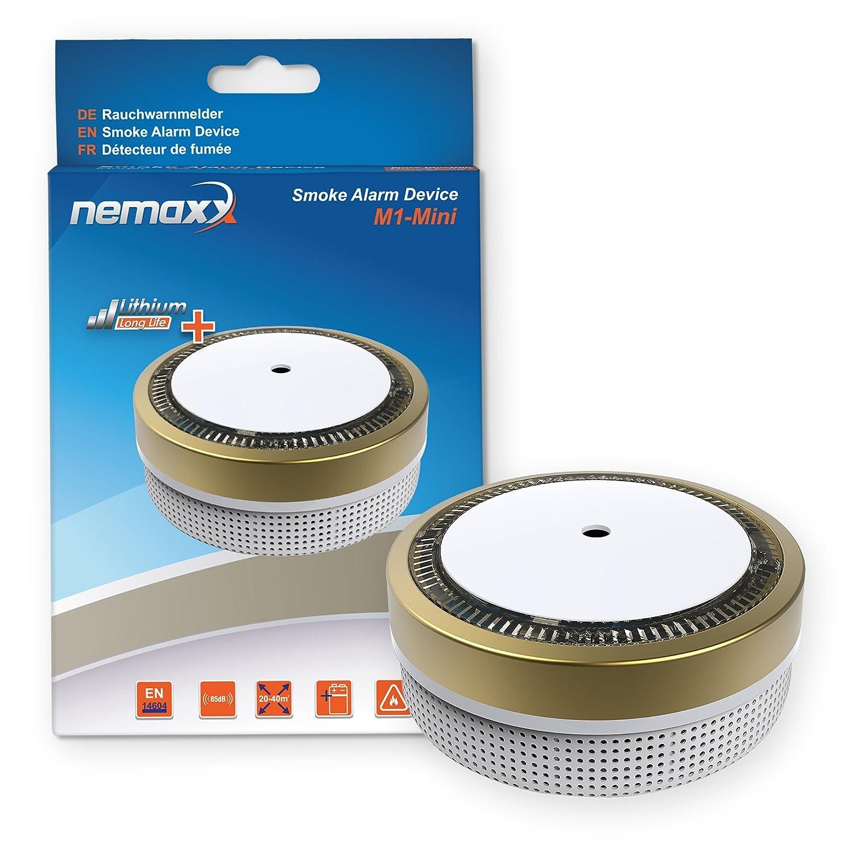 12x Nemaxx Detector de Humo M1-Mini Dorado - sensibilidad fotoeléctrica - Certificado VDS y con batería de Litio Tipo DC3V - Conforme la Norma DIN EN14604 ...
