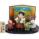 五月人形 陶器 桃太郎おこしにつけたきび団子 ポストカード特典付オリジナル五月人形 ミニ 兜 兜飾り 幅18cm