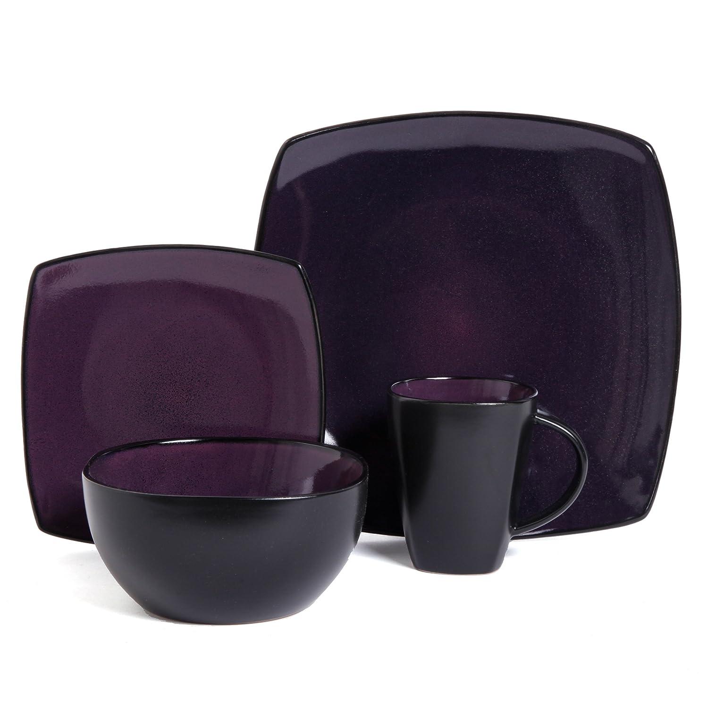 Amazon.com Gibson Soho Lounge 16-Piece Square Reactive Glaze Dinnerware Set Purple. Kitchen u0026 Dining  sc 1 st  Amazon.com & Amazon.com: Gibson Soho Lounge 16-Piece Square Reactive Glaze ...
