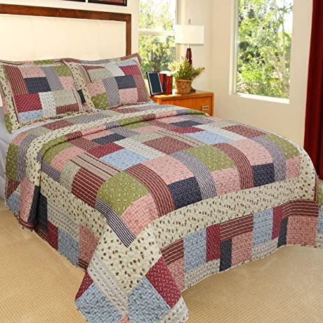 3 piece beautiful blue pink red green white queen quilt set tartan plaid patchwork themed