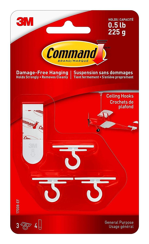 Command 17008-EF Ceiling Hook, White, 3 Hooks 4 Strips 3M 17008-ES