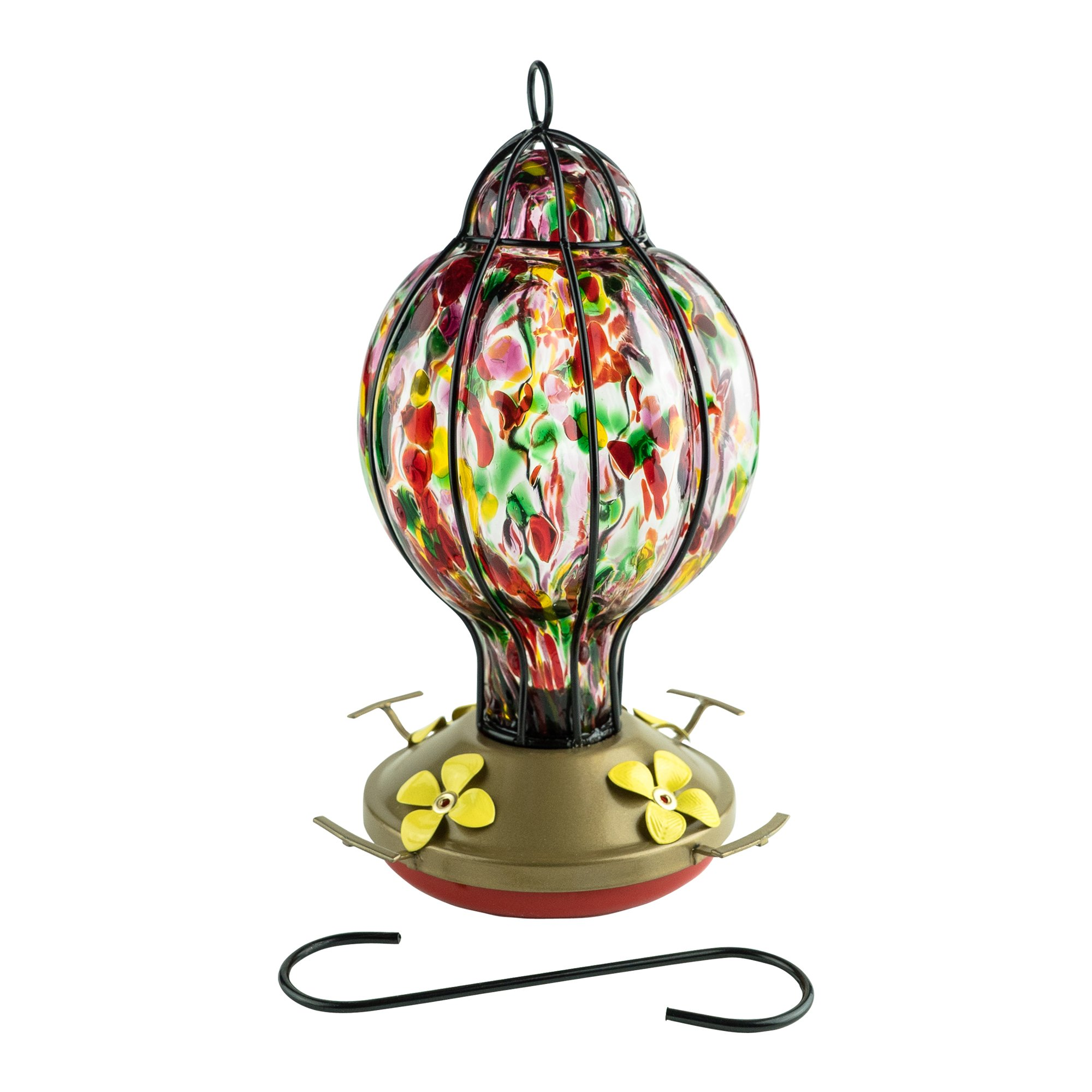 HUMMINGBIRD FEEDER with Perch --- Blown Glass Feeders | Rainbow Treat | Best Home Products