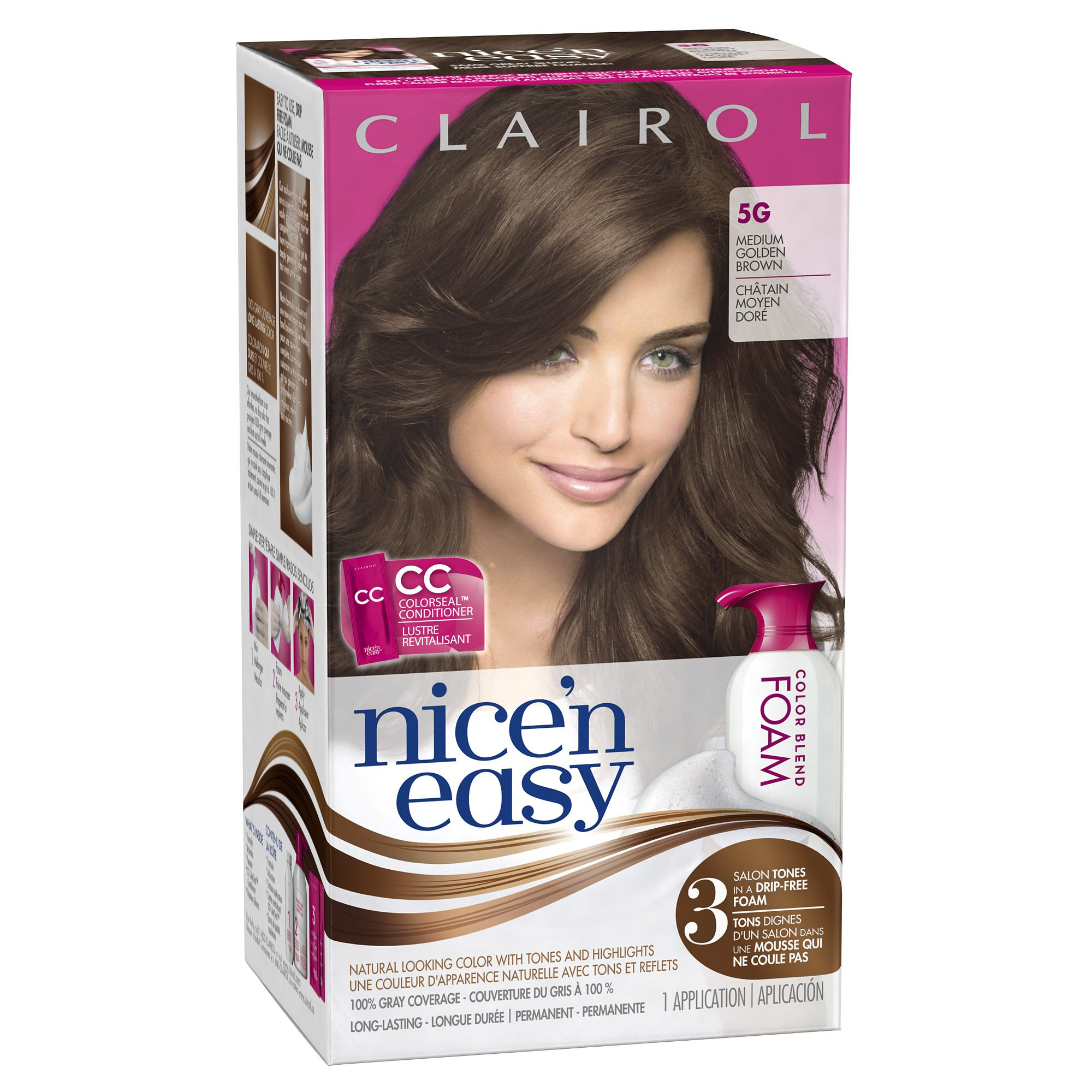 Amazon.com : Clairol Nice n Easy Color Blend Foam Hair Color, 5G, Medium Golden Brown, 2 pk