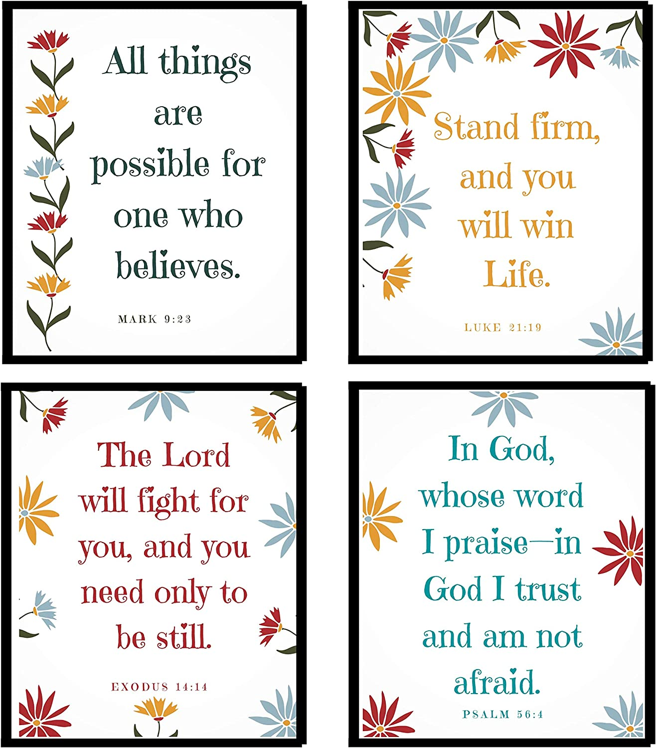 Inspirational Quotes Wall Decor - Set of 4 Prints for Christian Home Decor - Ready to Frame Christian decorations for home - Unique Gift for Women - Bible Verse Wall Art - 8x10 Motivational Wall Art Posters - Religious Scripture Wall Decor - Blessed Wall Decor