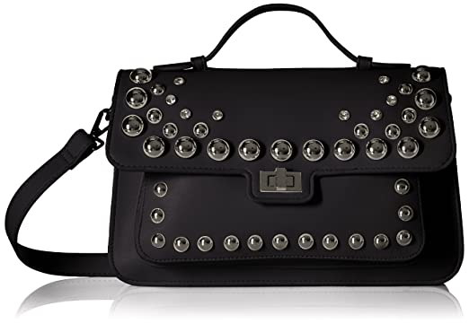 cef7d521b15 Image Unavailable. Image not available for. Color  Steve Madden Mary  Nonleather Frontflap Silver Studded Satchel Handbag