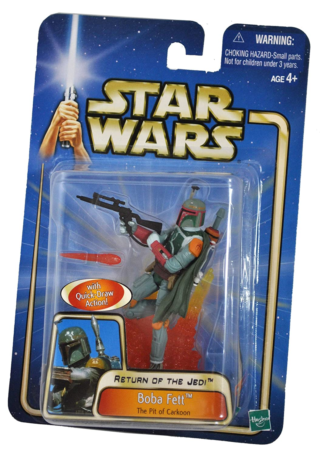 BOBA FETT at The Pit of Carkoon with Quick Draw Action Star Wars Year 2002 Return of the Jedi Series 4 Inch Tall Action Figure Blaster Rifle with Removable Fireblast Tip and Display Base 84920