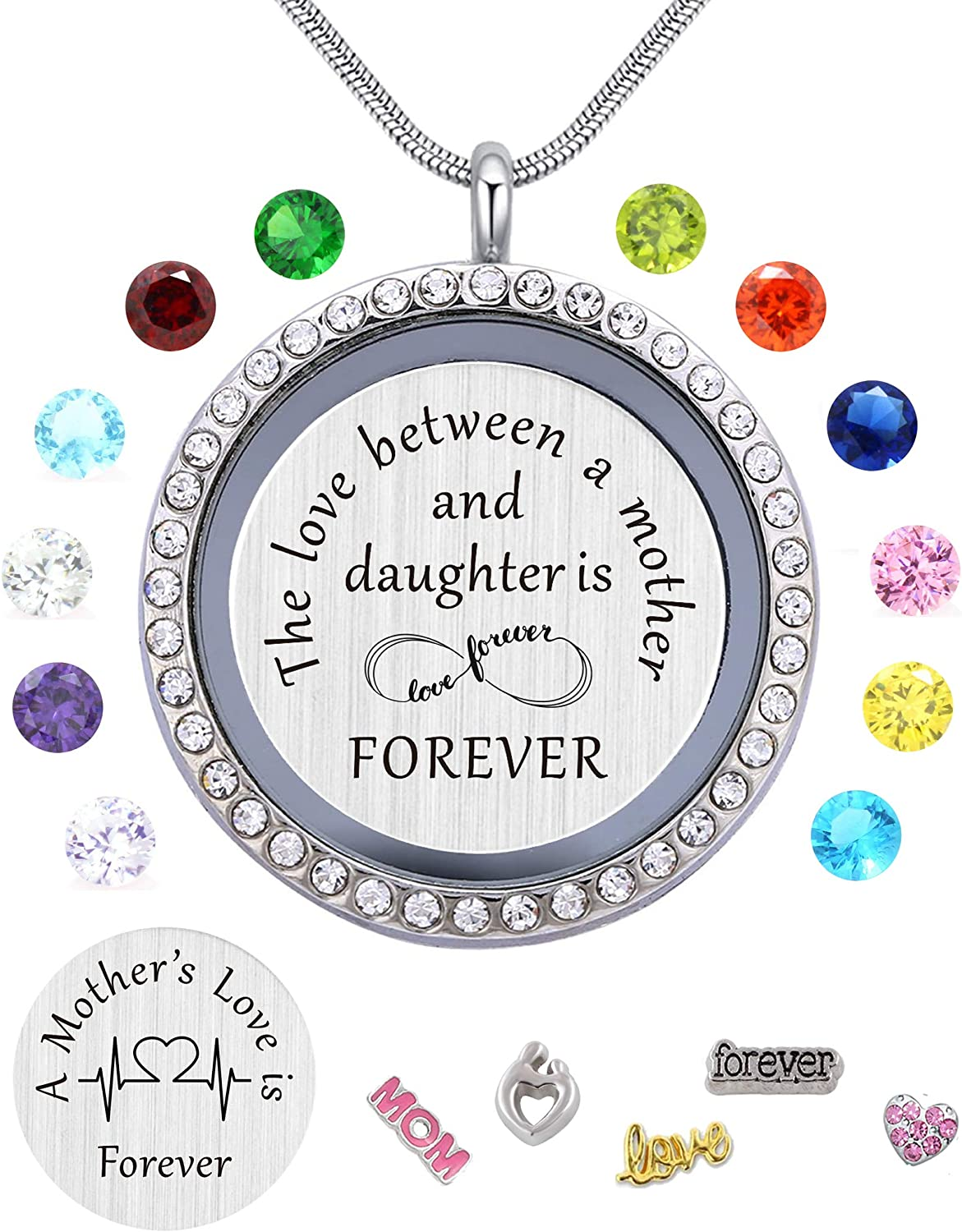 Best Gift Floating Charm Living Memory Lockets with Birthstone,Magnetic Closure 30mm Stainless Steel Necklace