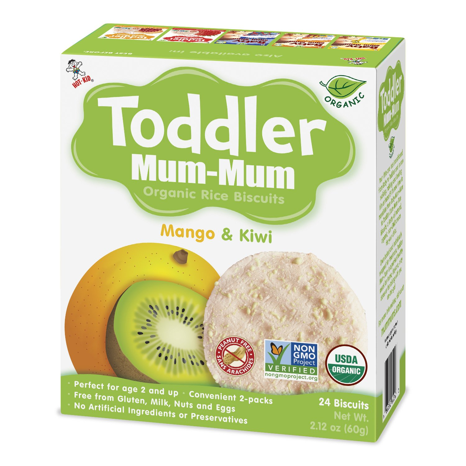 Toddler Mum-Mum Organic Mango & Kiwi, 6-Count Want-Want