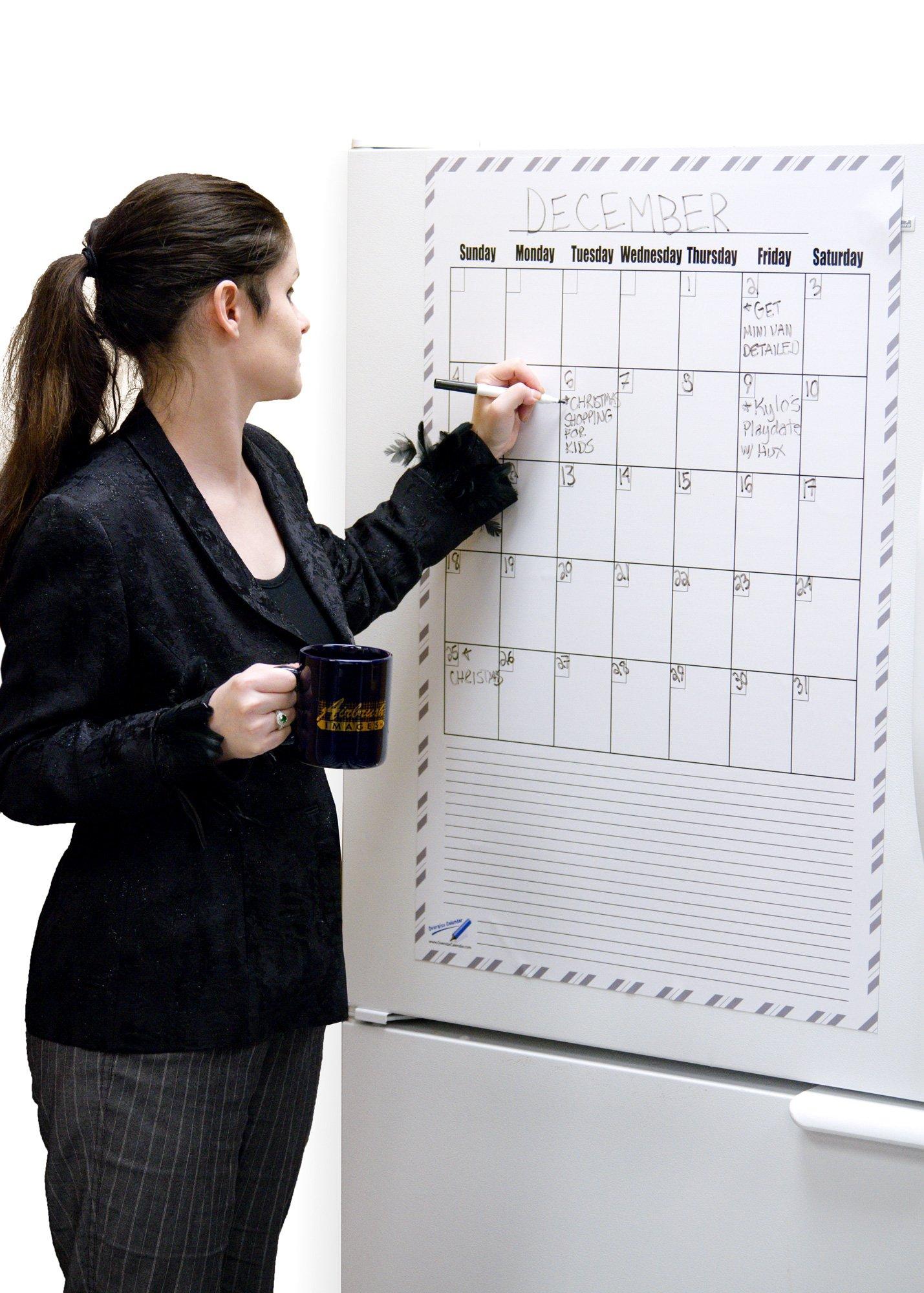 Giant White Board Dry Erase Calendar Magnet - 36 x 24 Big Magnetic Dry Erase Board Calendar - Monthly Magnetic Calendar Office Products - Magnet Calendar For Fridge
