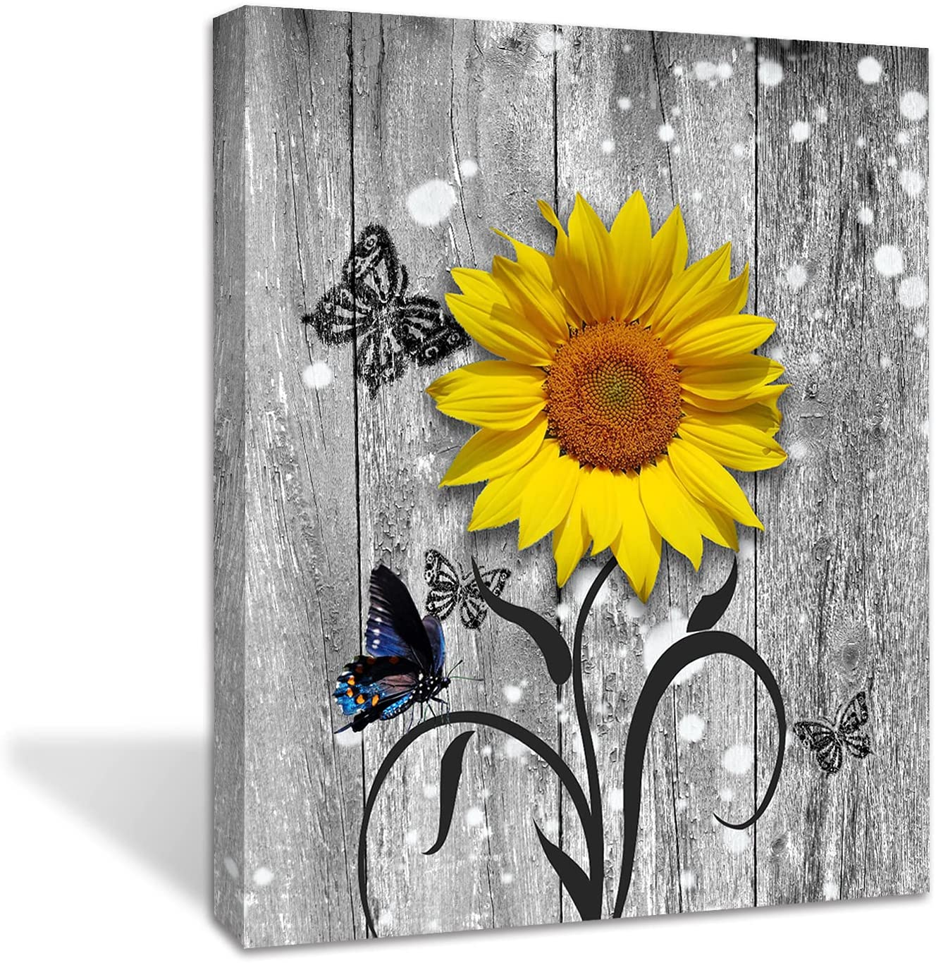 Sunflower Butterfly Wall art on The Gray Wood Wall Decor -Living Room Bathroom Bedroom Office Wall Decor Home- Ready to Hang (sunflower, 16x20inch)