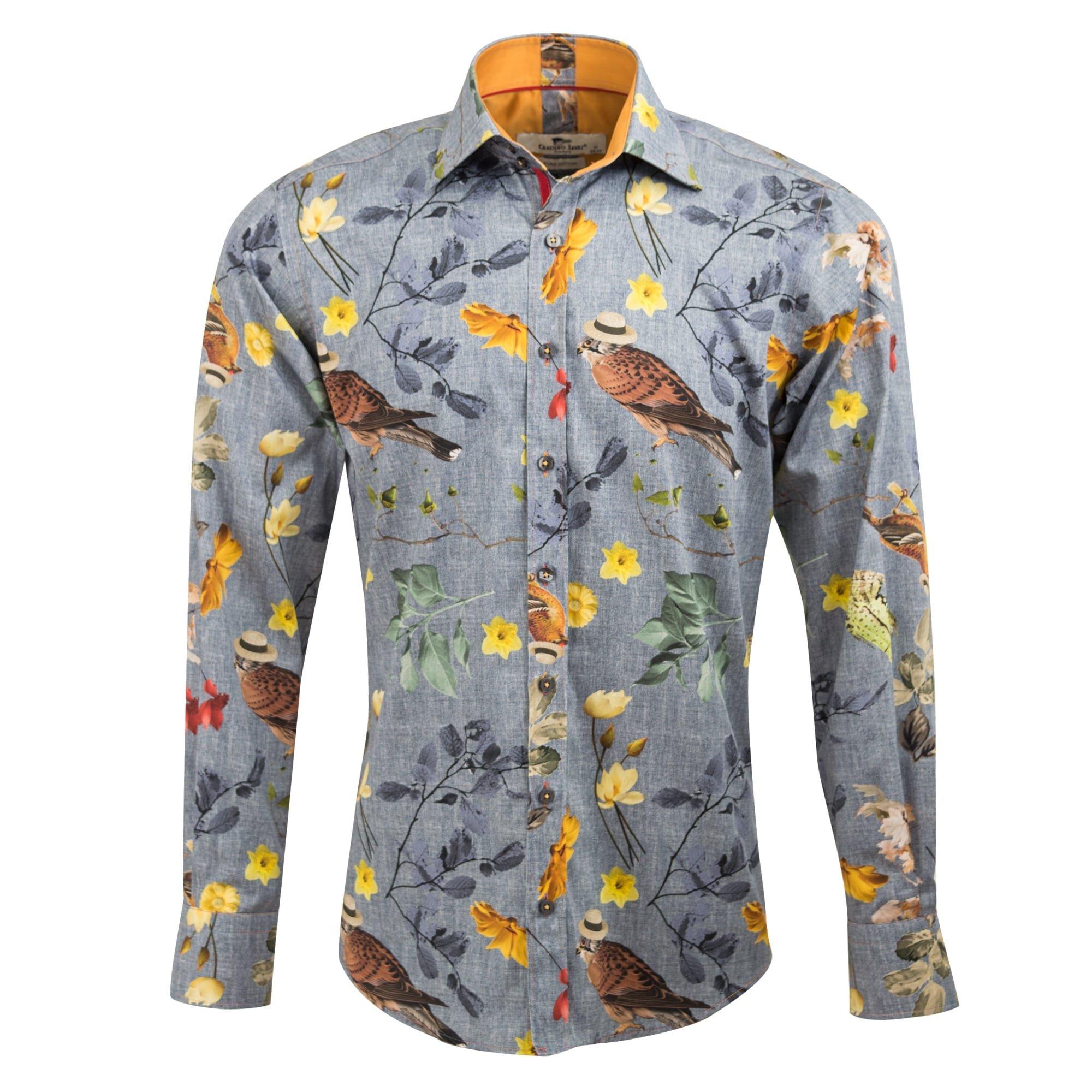 Claudio Lugli Nature Print Designer Luxury Cotton Long Sleeve Slim Fit Men's Shirt CP6352 Large Grey White & Grey