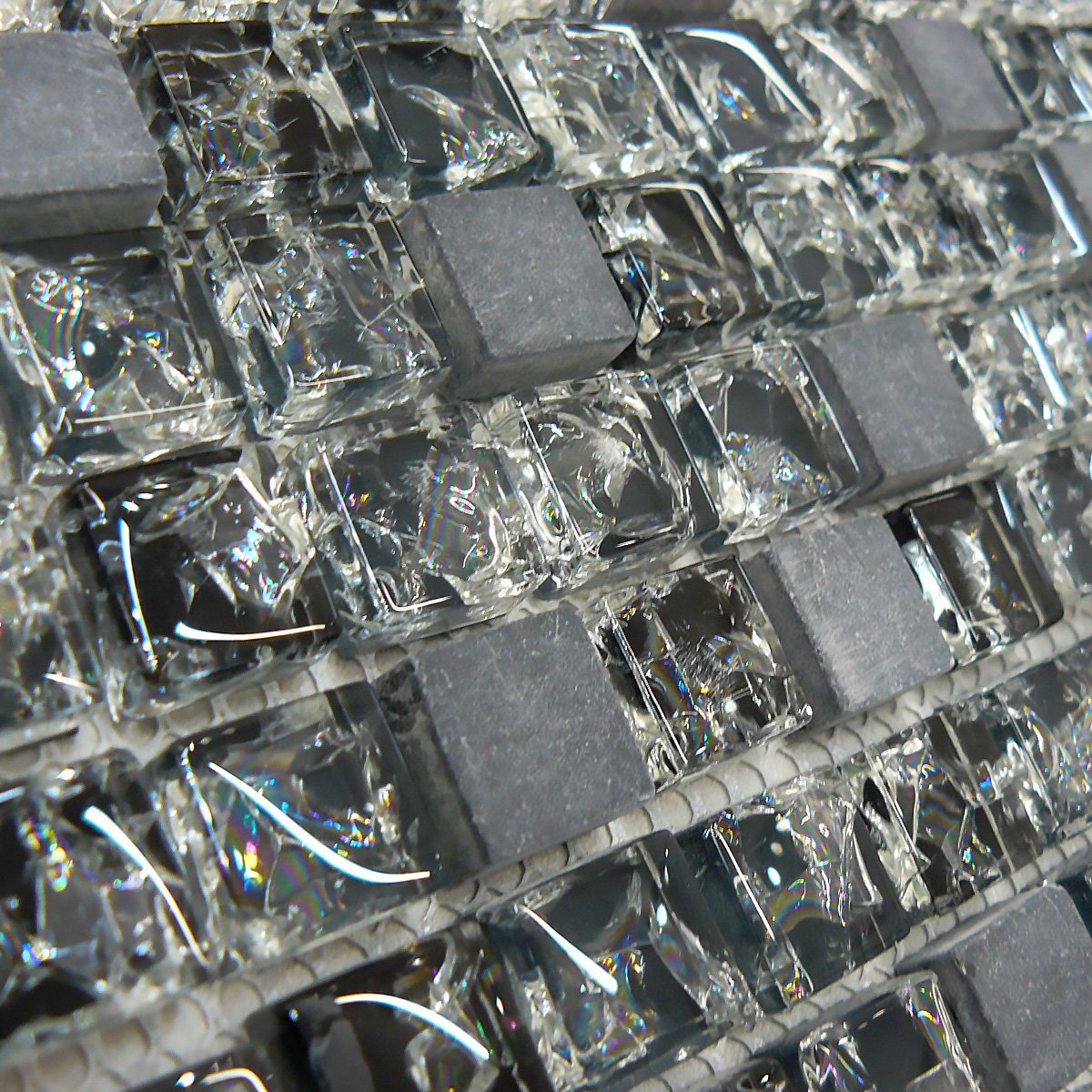 Black Marble & Crackled Glass Squares Shape Mosaic Tiles Sheet for Walls and Floors Bathroom Kitchen 30cm X 30cm Each # Free Delivery (1 Sheet 30cmX30cm) Total Look Design Tiles And Interiors