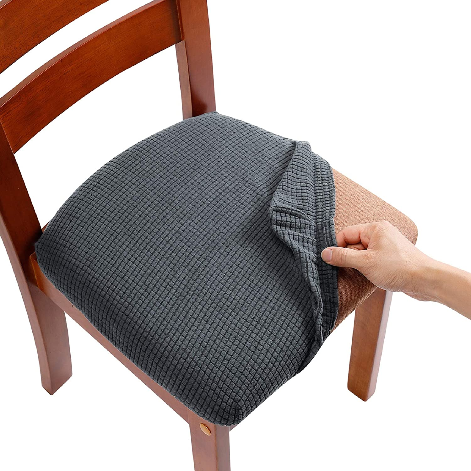 AlGaiety Dining Chair Covers, Chair Slipcovers for Dining Room, Stretch Jacquard Dining Chairs Covers Set of 6, Removable Washable Anti-Dust Chair Seat Covers, Seat Covers for Chairs, Grey